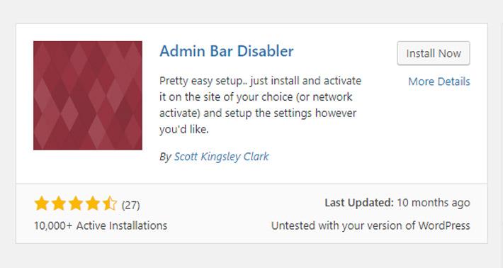 Admin Bar Disabler