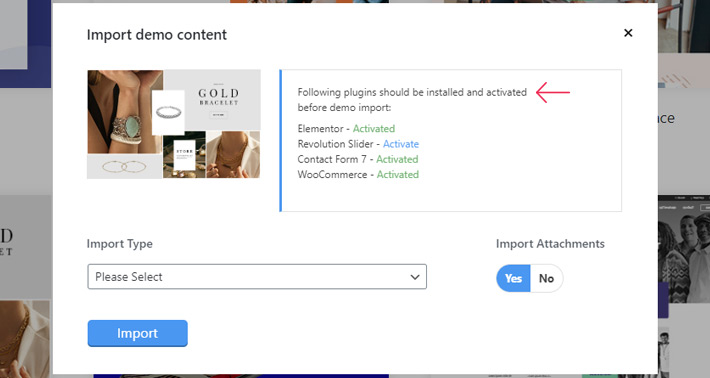 Import demo content