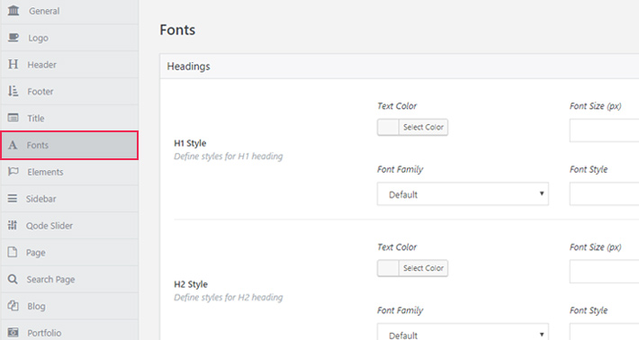 Qode Interactive Themes come with integrated Google Fonts