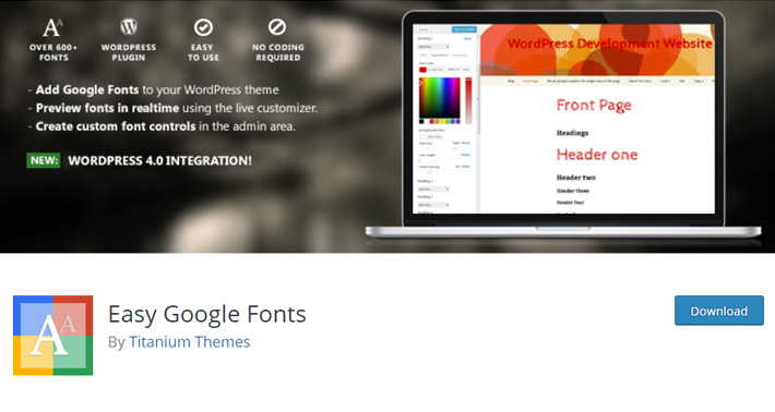 Easy Google Fonts Plugin