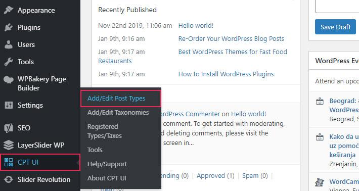 Custom Post Types UI Plugin options