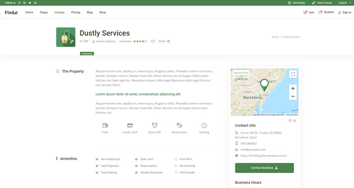 A Listing post type in the Findall Business Directory theme