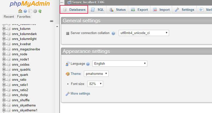 Databases tab