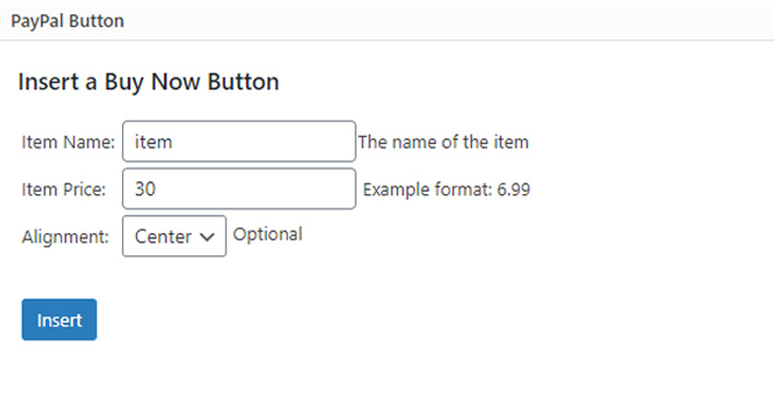 PayPal button options