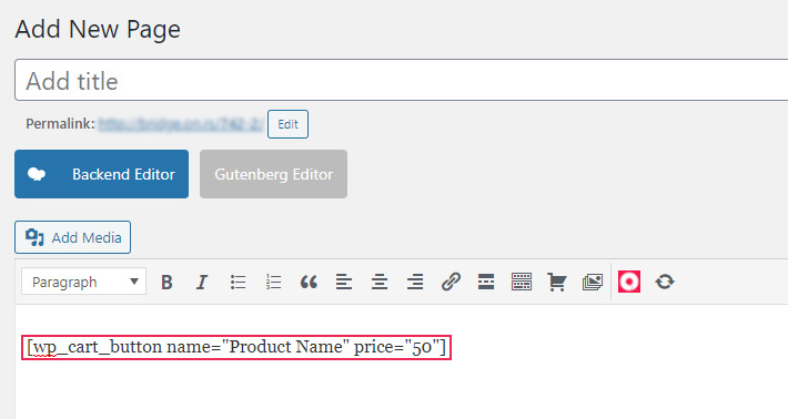 Product shortcode