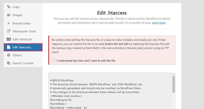 Rank Math Edit Htaccess