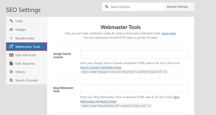 Rank Math Webmaster Tools