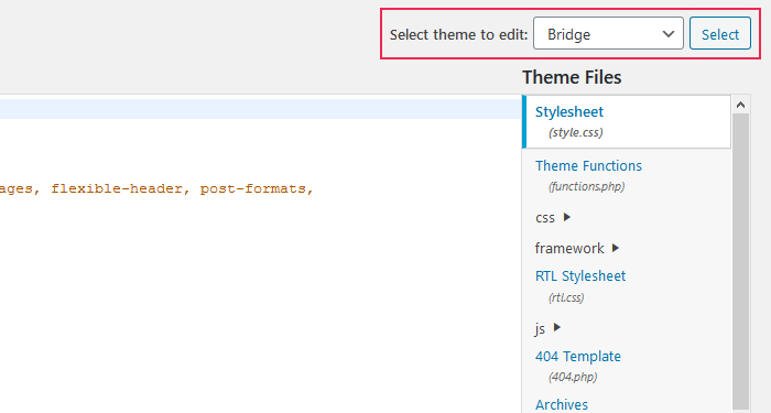 Select Theme to Edit