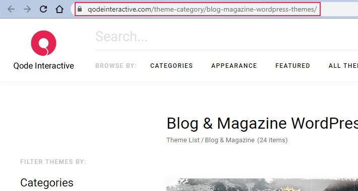 Theme Category URL