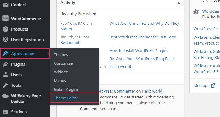 WordPress Theme Editor Appearance