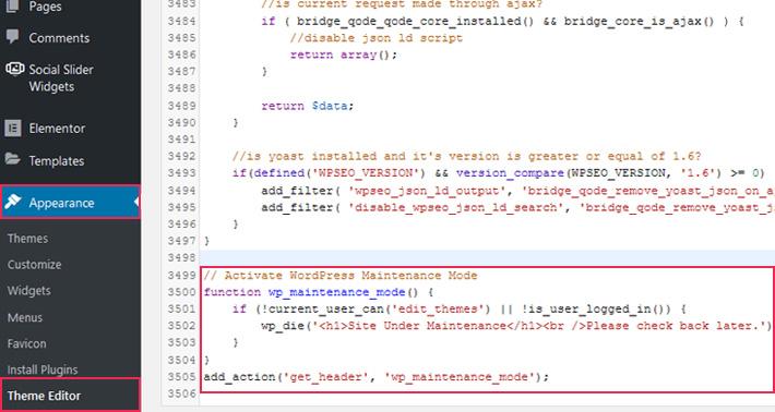 Enable Maintenance Mode in WordPress With Custom Code