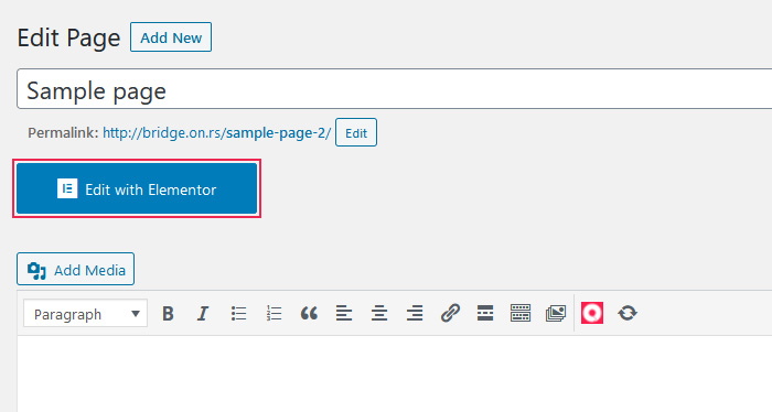 Edit page with Elementor
