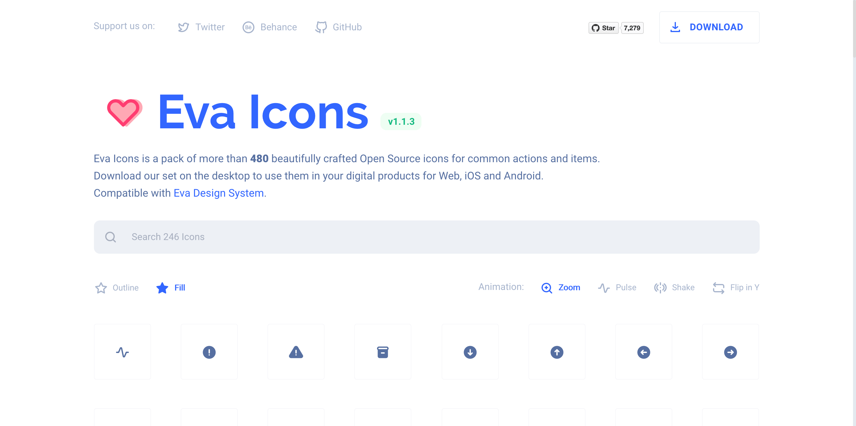 Eva Icons - beautifully crafted Open Source UI icons for common actions and items