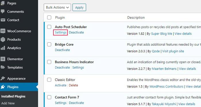 Configure the Auto Post Scheduler Plugin