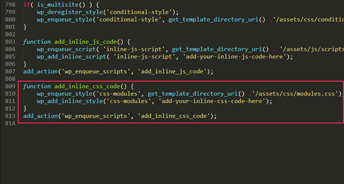 Adding stylesheets with wp_add_inline_style