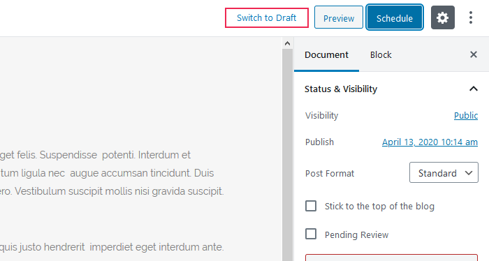 Switch the status of your post