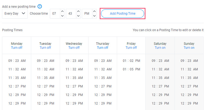 Schedule your posting times on your Buffer profile