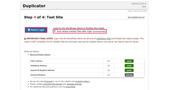Testing your new site and-removing-the Duplicator installer files