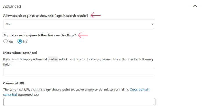 Stops search engines from following links on your page