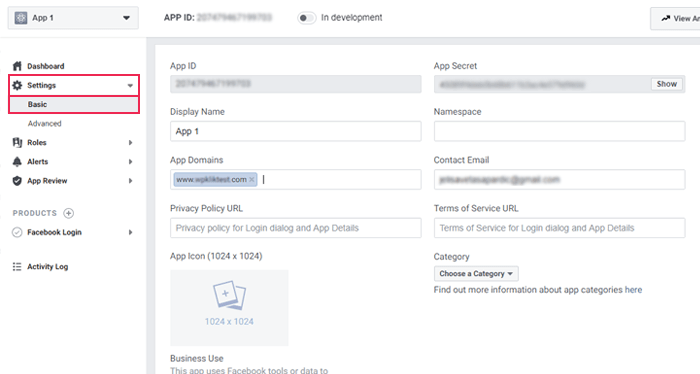 Facebook Developers page