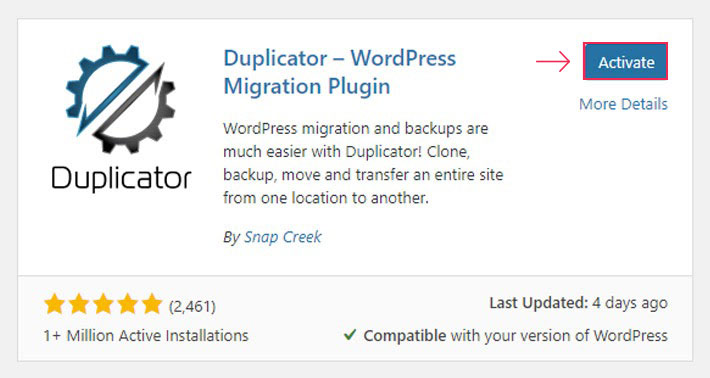 Activate Duplicator plugin