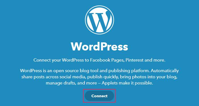 IFTTT WordPress page