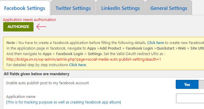 Authorizing the App in the WordPress Admin