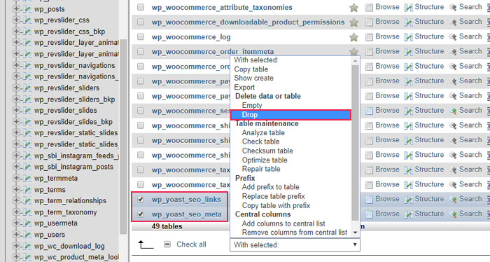 Yoast plugin creates two additional-tables that you need to delete