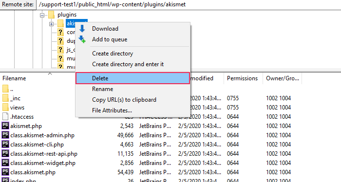 Delete plugin from the dropdown