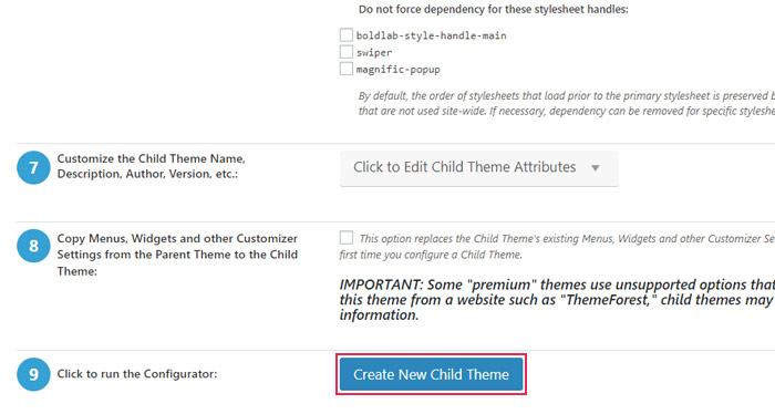 Create New Child Theme button