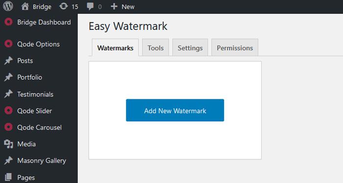 Watermarks tab
