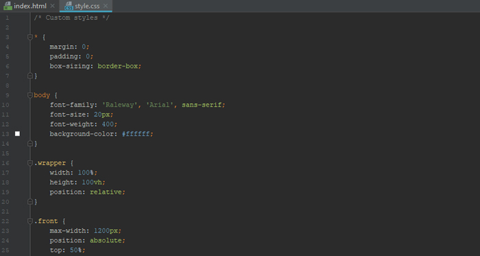 Stylesheet file intended to style your website