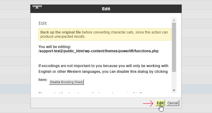 Editing Functions Button