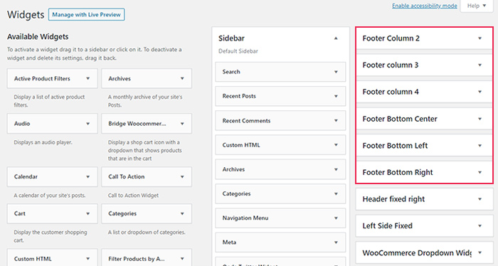 Footer Widget Areas