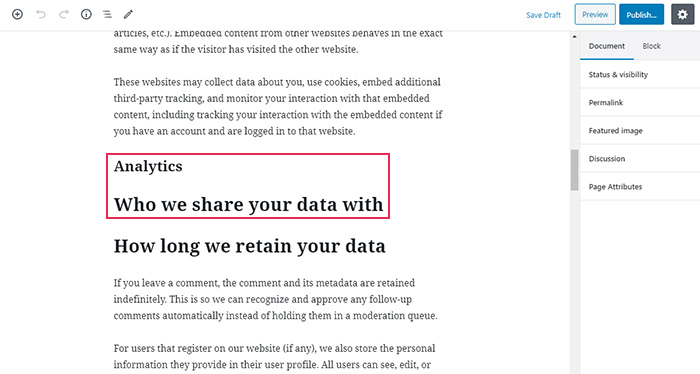 Privacy Policy Page Personal Data Analytics