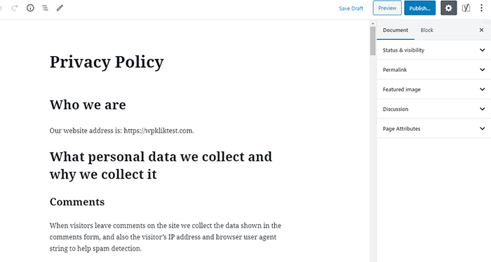 Privacy Policy Page