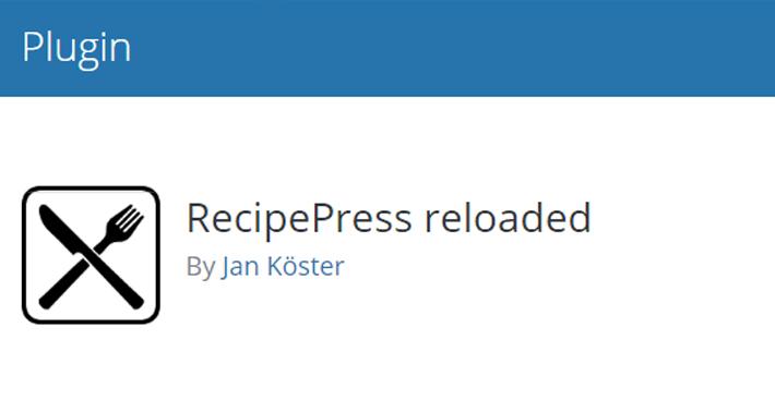 RecipePress reloaded Plugin