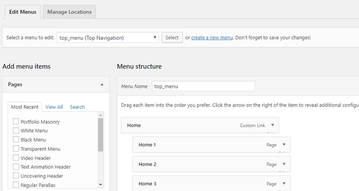 Create a new menu or modify the one that you imported with the demo