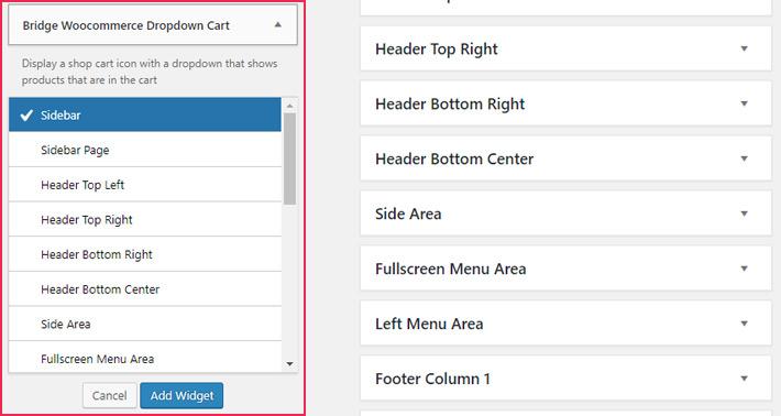 Adding widgets to a widget area