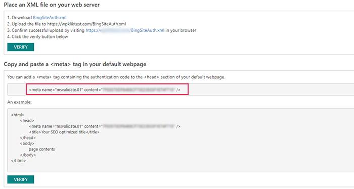 Bing Webmaster Meta Name