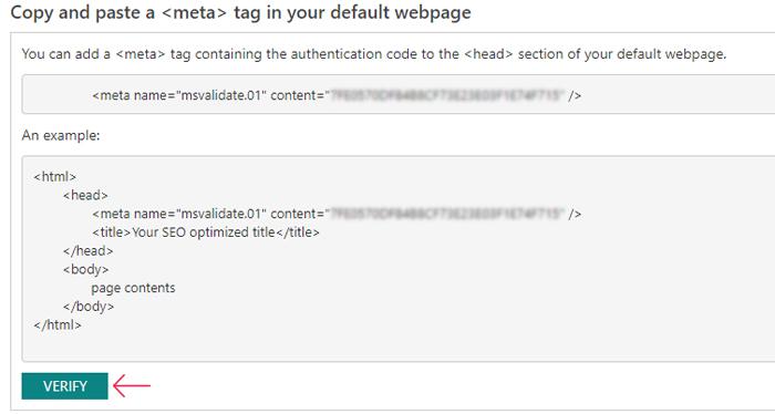 Bing Webmaster Meta Tag