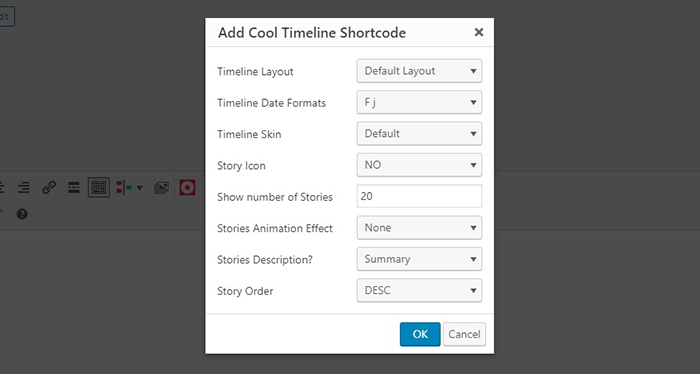 Cool Timeline Shortcode Settings