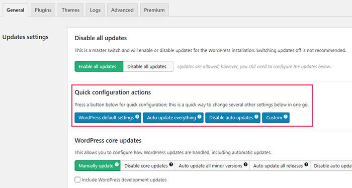 Easy Updates Manager Quick Configuration Actions