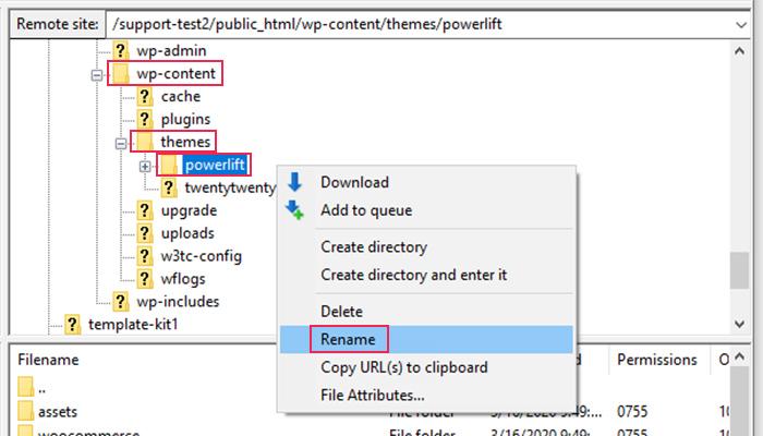 FTP Deactivate Themes
