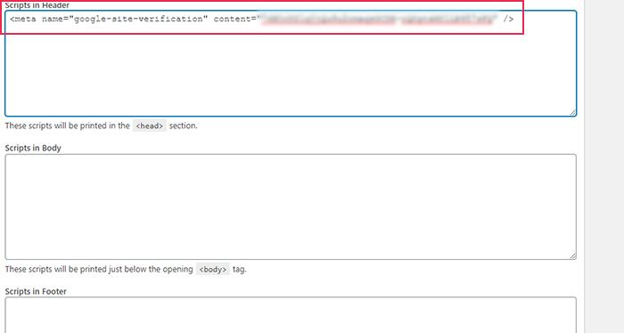 Google Search Console Scripts in Header