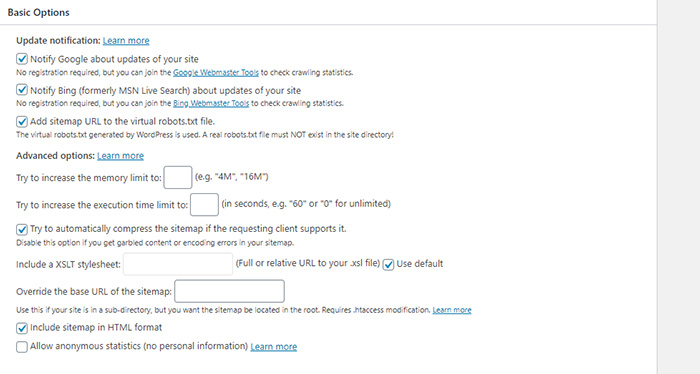XML Sitemap Basic Options