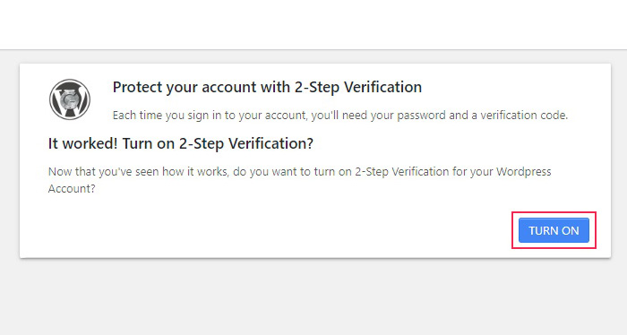 2-Step Verification Turn On
