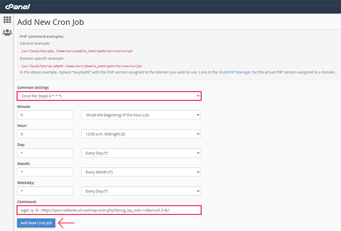 Cron Jobs in cPanel