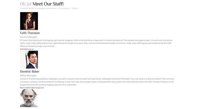 Staff Members List Preview
