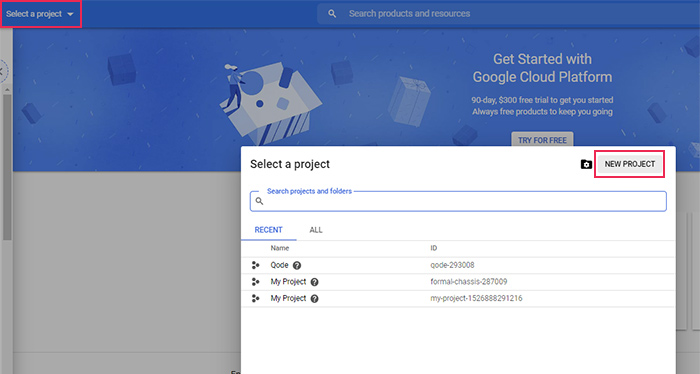 Google Cloud New Project